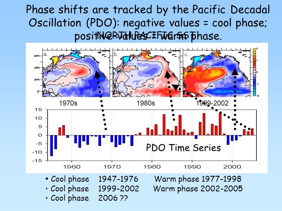 PDO Time Series Cool phase 1947-1976 Warm phase 1977-1998 Cool phase 1999-2002 Warm phase 2002-2005 Cool phase 2006 .