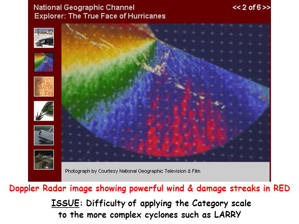 Doppler Radar image showing powerful wind & damage streaks in RED ISSUE: Difficulty of applying the Category scale to the more complex cyclones such as LARRY