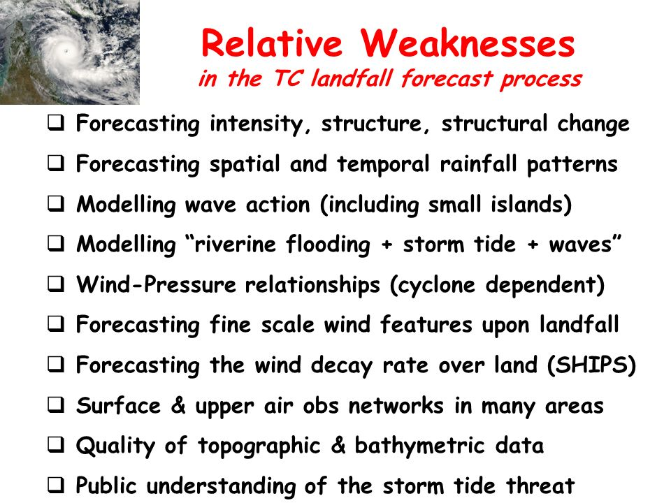 Relative Weaknesses Forecasting intensity, structure, structural change Forecasting spatial and temporal rainfall patterns Modelling wave action (including small islands) Modelling riverine flooding + storm tide + waves Wind-Pressure relationships (cyclone dependent) Forecasting fine scale wind features upon landfall Forecasting the wind decay rate over land (SHIPS) Surface & upper air obs networks in many areas Quality of topographic & bathymetric data Public understanding of the storm tide threat in the TC landfall forecast process