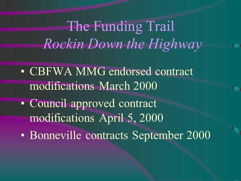 The Funding Trail Rockin Down the Highway CBFWA MMG endorsed contract modifications March 2000 Council approved contract modifications April 5, 2000 Bonneville contracts September 2000
