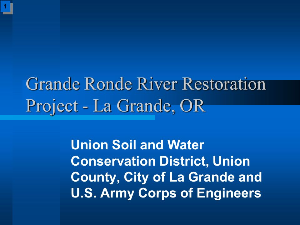 Grande Ronde River Restoration Project - La Grande, OR Union Soil and Water Conservation District, Union County, City of La Grande and U.S. Army Corps