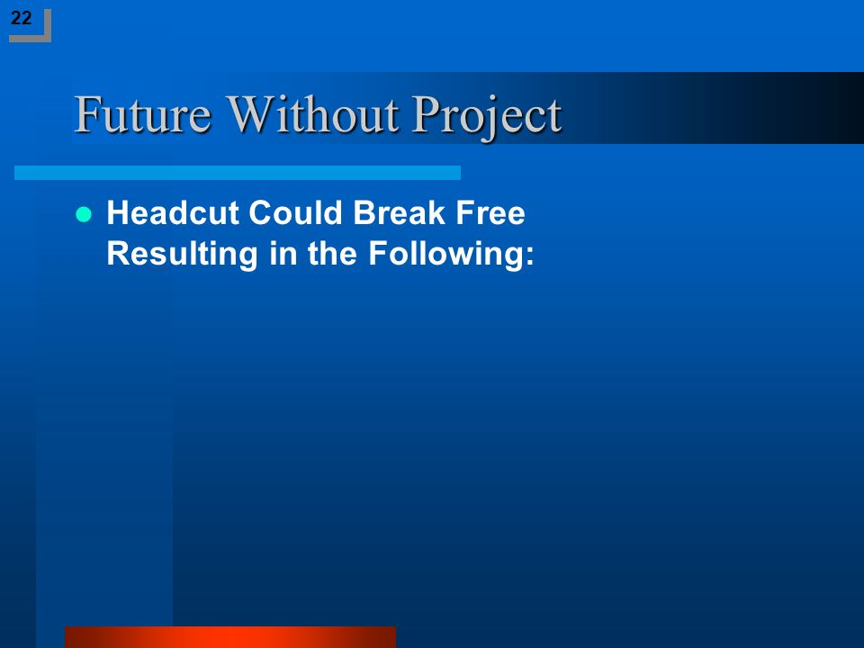 Future Without Project Headcut Could Break Free Resulting in the Following: 22