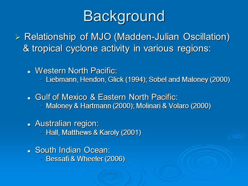 Background Relationship of MJO (Madden-Julian Oscillation) Relationship of MJO (Madden-Julian Oscillation) & tropical cyclone activity in various regions: & tropical cyclone activity in various regions: Western North Pacific: Western North Pacific: Liebmann, Hendon, Glick (1994); Sobel and Maloney (2000)Liebmann, Hendon, Glick (1994); Sobel and Maloney (2000) Gulf of Mexico & Eastern North Pacific: Gulf of Mexico & Eastern North Pacific: Maloney & Hartmann (2000); Molinari & Volaro (2000)Maloney & Hartmann (2000); Molinari & Volaro (2000) Australian region: Australian region: Hall, Matthews & Karoly (2001)Hall, Matthews & Karoly (2001) South Indian Ocean: South Indian Ocean: Bessafi & Wheeler (2006)Bessafi & Wheeler (2006)