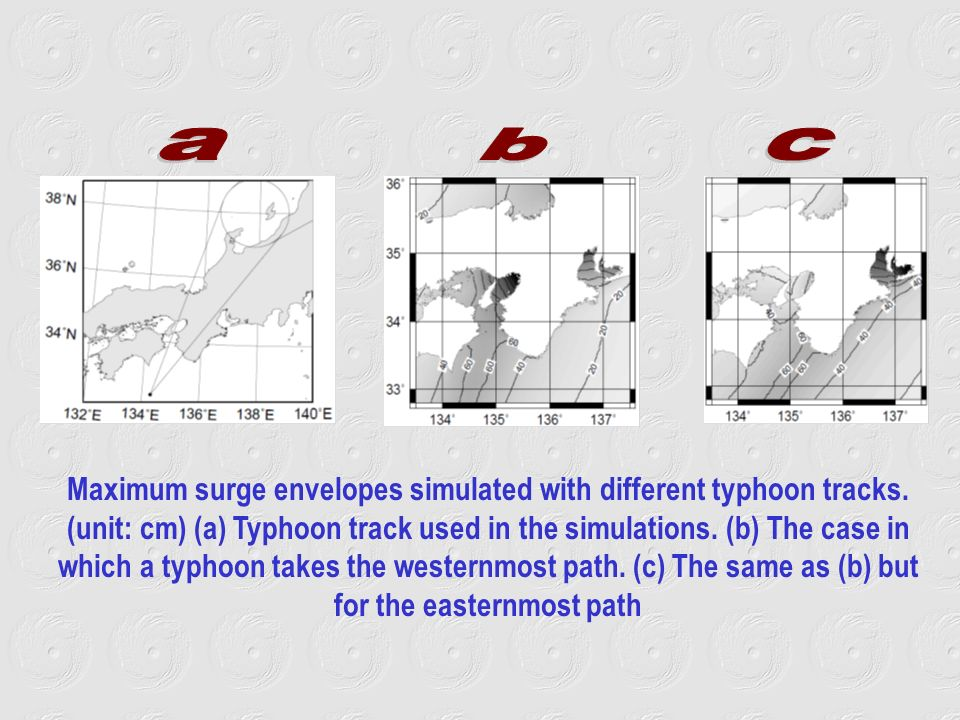 Maximum surge envelopes simulated with different typhoon tracks.