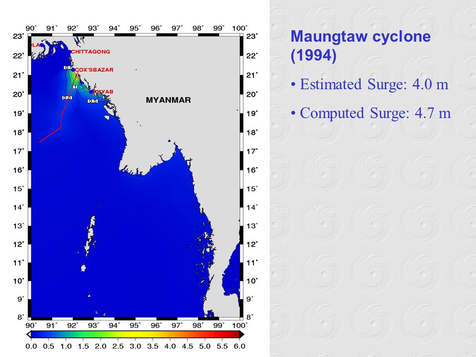 Maungtaw cyclone (1994) Estimated Surge: 4.0 m Computed Surge: 4.7 m