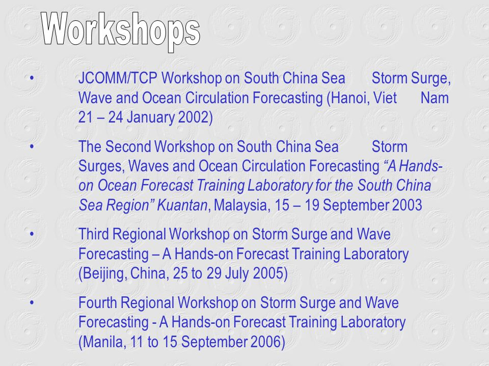 JCOMM/TCP Workshop on South China Sea Storm Surge, Wave and Ocean Circulation Forecasting (Hanoi, Viet Nam 21 – 24 January 2002) The Second Workshop o
