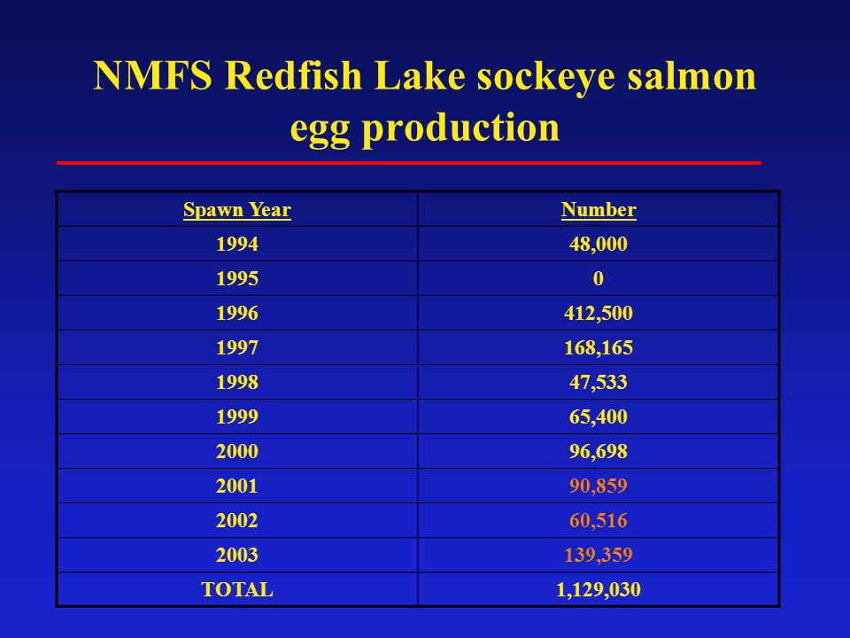 NMFS Redfish Lake sockeye salmon egg production Spawn YearNumber 199448,000 19950 1996412,500 1997168,165 199847,533 199965,400 200096,698 200190,859