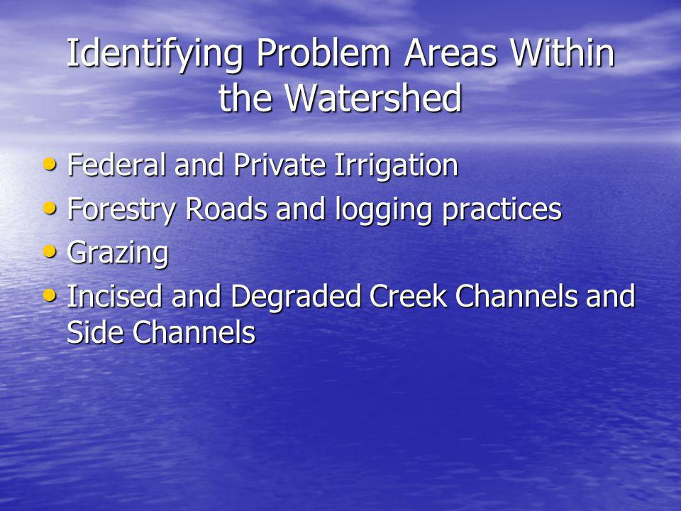 Identifying Problem Areas Within the Watershed Federal and Private Irrigation Federal and Private Irrigation Forestry Roads and logging practices Fore