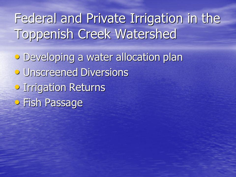 Federal and Private Irrigation in the Toppenish Creek Watershed Developing a water allocation plan Developing a water allocation plan Unscreened Diversions Unscreened Diversions Irrigation Returns Irrigation Returns Fish Passage Fish Passage