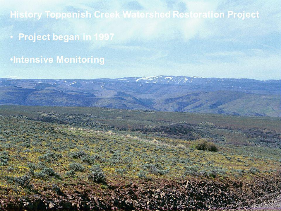 History Toppenish Creek Watershed Restoration Project Project began in 1997 Intensive Monitoring