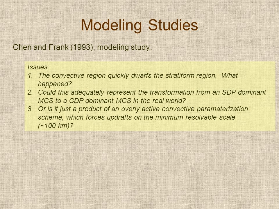Modeling Studies Chen and Frank (1993), modeling study: Issues: 1.The convective region quickly dwarfs the stratiform region.