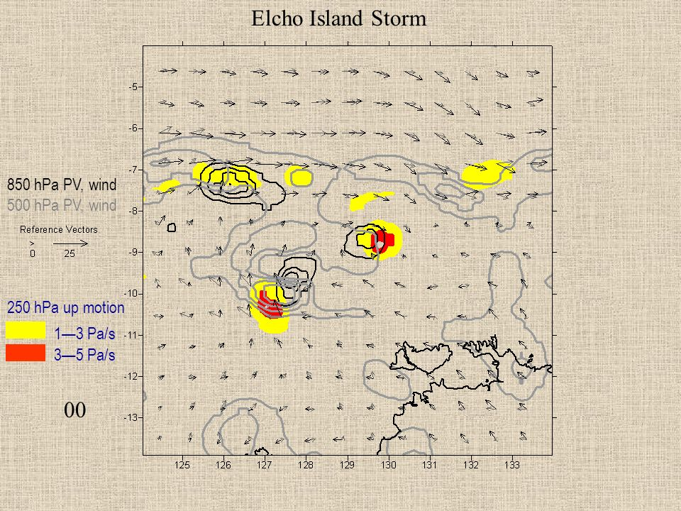 00 Elcho Island Storm 850 hPa PV, wind 500 hPa PV, wind 250 hPa up motion 13 Pa/s 35 Pa/s