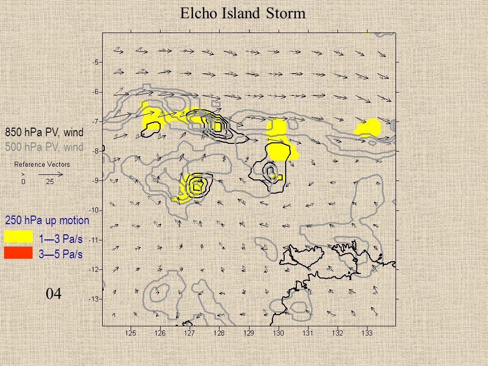 04 Elcho Island Storm 850 hPa PV, wind 500 hPa PV, wind 250 hPa up motion 13 Pa/s 35 Pa/s