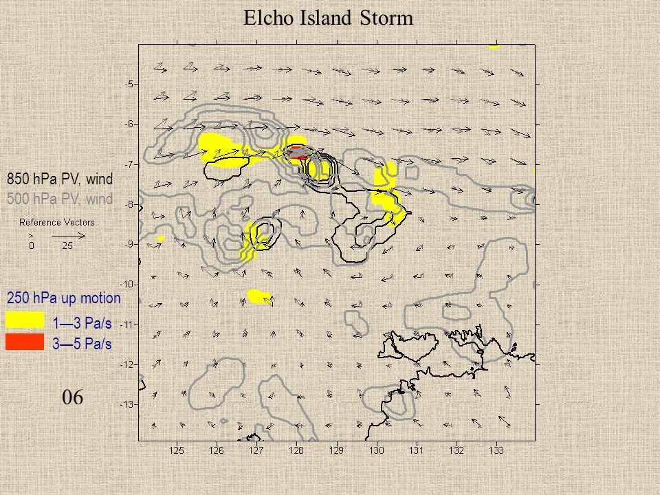 06 Elcho Island Storm 850 hPa PV, wind 500 hPa PV, wind 250 hPa up motion 13 Pa/s 35 Pa/s
