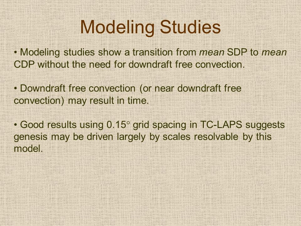 Modeling Studies Modeling studies show a transition from mean SDP to mean CDP without the need for downdraft free convection.