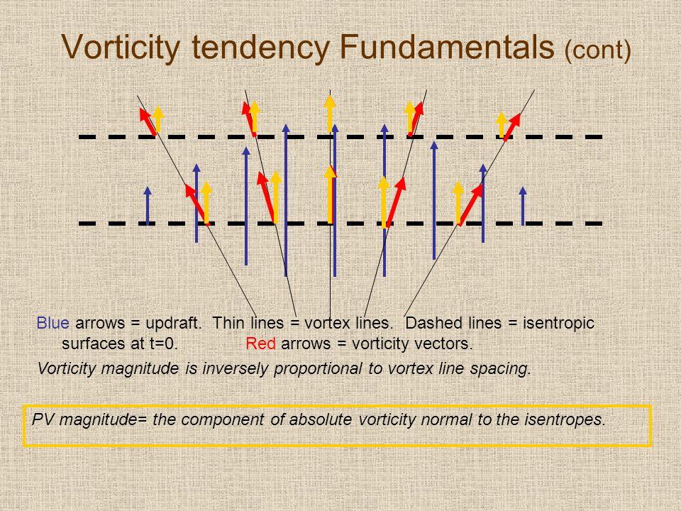 Vorticity tendency Fundamentals (cont) Blue arrows = updraft.