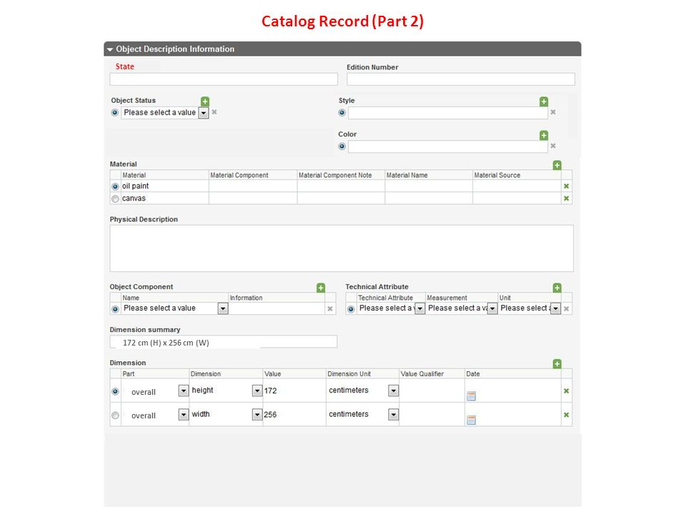 Catalog Record (Part 2) overall State 172 cm (H) x 256 cm (W)