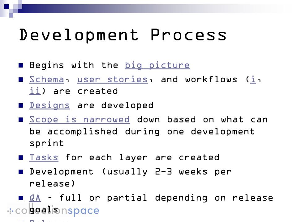 Development Process Begins with the big picturebig picture Schema, user stories, and workflows (i, ii) are created Schemauser storiesi ii Designs are developed Designs Scope is narrowed down based on what can be accomplished during one development sprint Scope is narrowed Tasks for each layer are created Tasks Development (usually 2-3 weeks per release) QA – full or partial depending on release goals QA Release
