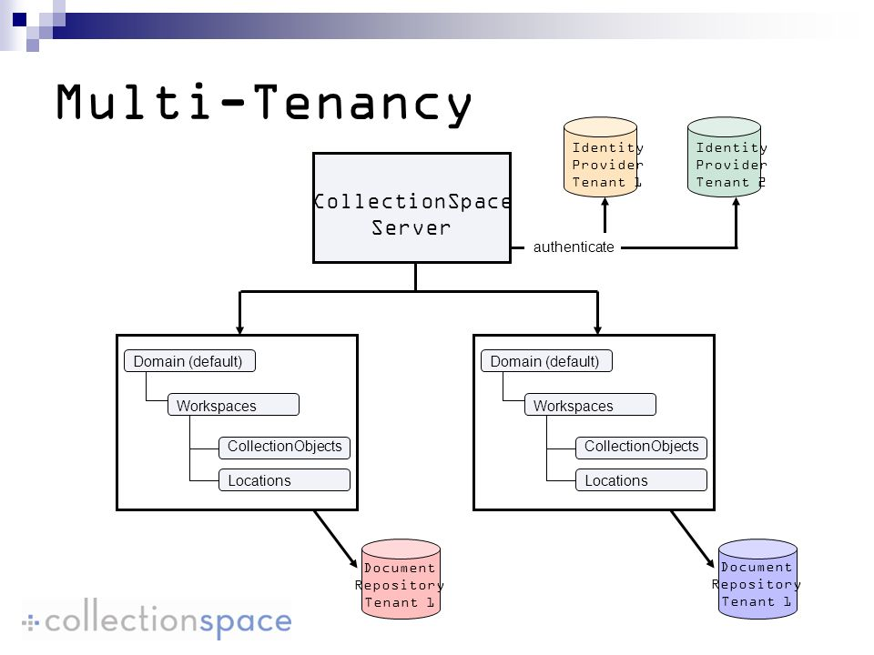 Multi-Tenancy CollectionSpace Server Identity Provider Tenant 1 Identity Provider Tenant 2 authenticate Document Repository Tenant 1 Document Repository Tenant 1 Domain (default) Workspaces CollectionObjects Locations Domain (default) Workspaces CollectionObjects Locations