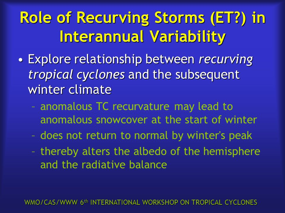 WMO/CAS/WWW 6 th INTERNATIONAL WORKSHOP ON TROPICAL CYCLONES Role of Recurving Storms (ET?) in Interannual Variability Explore relationship between re