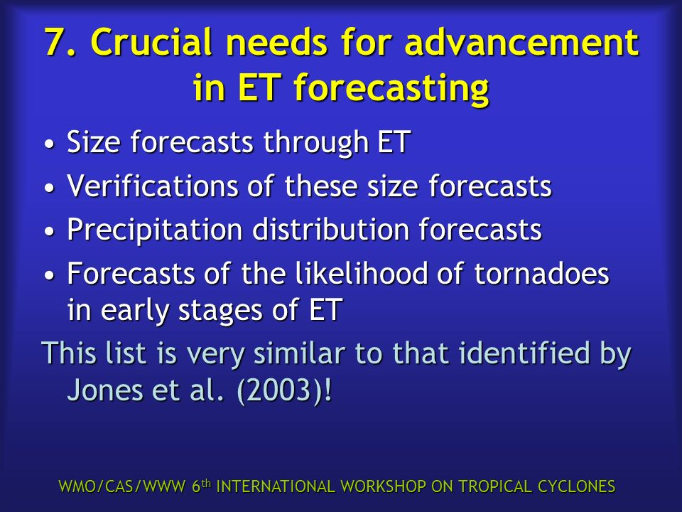WMO/CAS/WWW 6 th INTERNATIONAL WORKSHOP ON TROPICAL CYCLONES 7. Crucial needs for advancement in ET forecasting Size forecasts through ETSize forecast