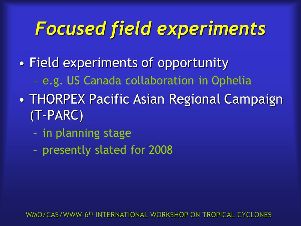 WMO/CAS/WWW 6 th INTERNATIONAL WORKSHOP ON TROPICAL CYCLONES Focused field experiments Field experiments of opportunityField experiments of opportunit
