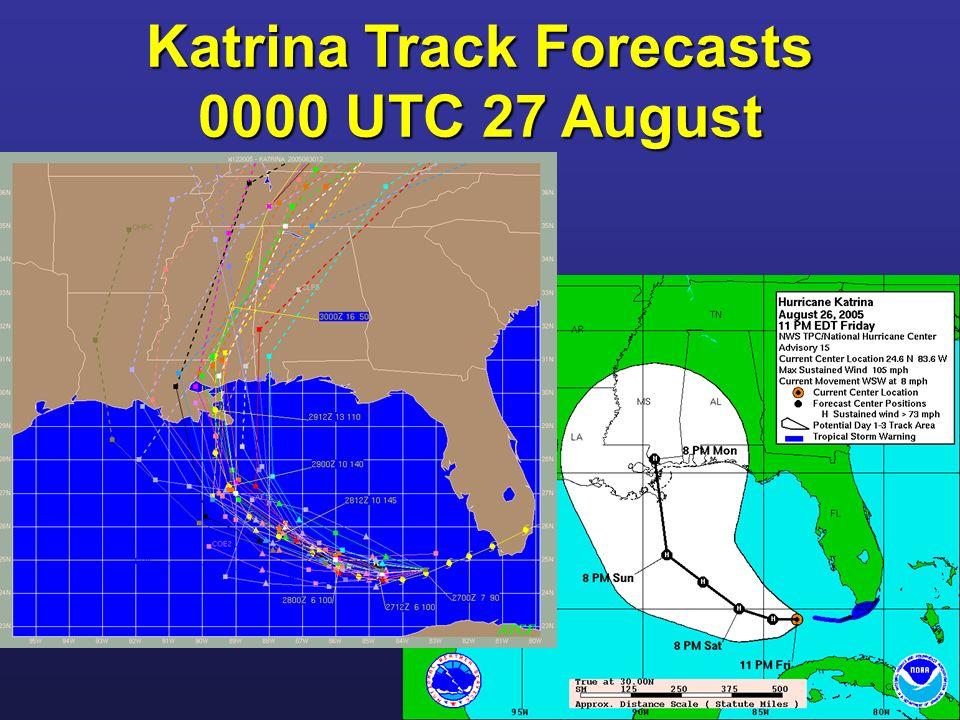 Katrina Track Forecasts 0000 UTC 27 August