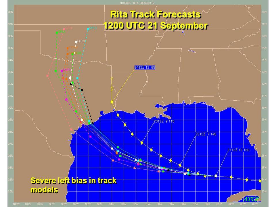 Rita Track Forecasts 1200 UTC 21 September Severe left bias in track models