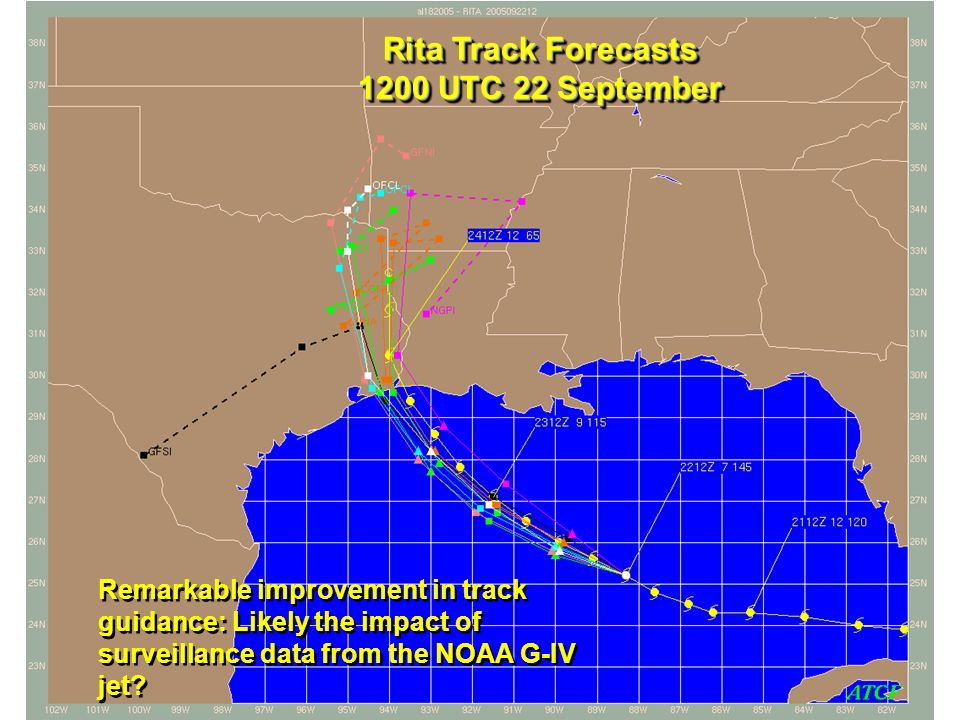 Rita Track Forecasts 1200 UTC 22 September Remarkable improvement in track guidance: Likely the impact of surveillance data from the NOAA G-IV jet?