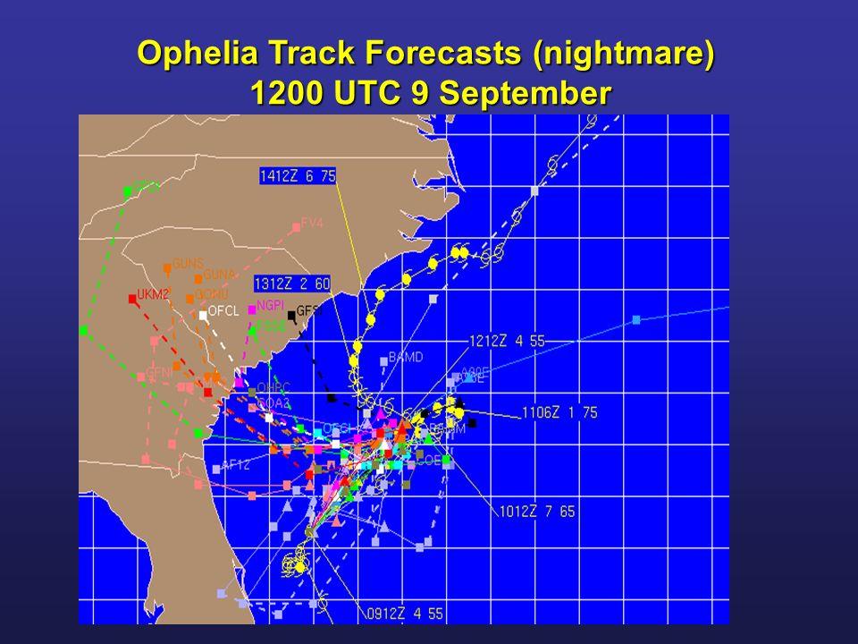 Ophelia Track Forecasts (nightmare) 1200 UTC 9 September