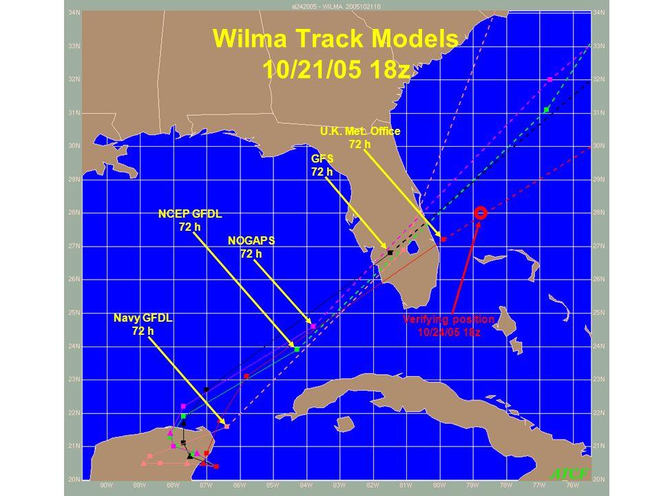 Wilma Track Models 10/21/05 18z Navy GFDL 72 h NCEP GFDL 72 h U.K. Met. Office 72 h GFS 72 h NOGAPS 72 h Verifying position 10/24/05 18z