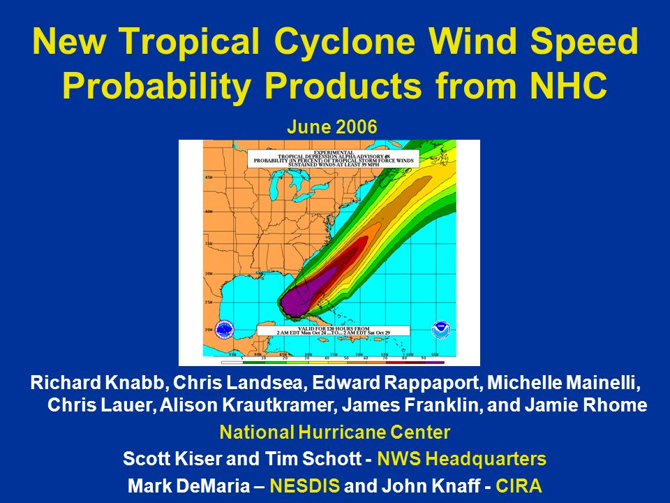 New Tropical Cyclone Wind Speed Probability Products from NHC Richard Knabb, Chris Landsea, Edward Rappaport, Michelle Mainelli, Chris Lauer, Alison K