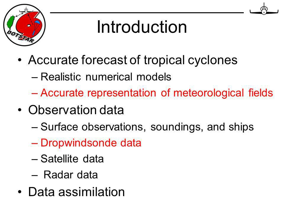 Introduction Accurate forecast of tropical cyclones –Realistic numerical models –Accurate representation of meteorological fields Observation data –Surface observations, soundings, and ships –Dropwindsonde data –Satellite data – Radar data Data assimilation