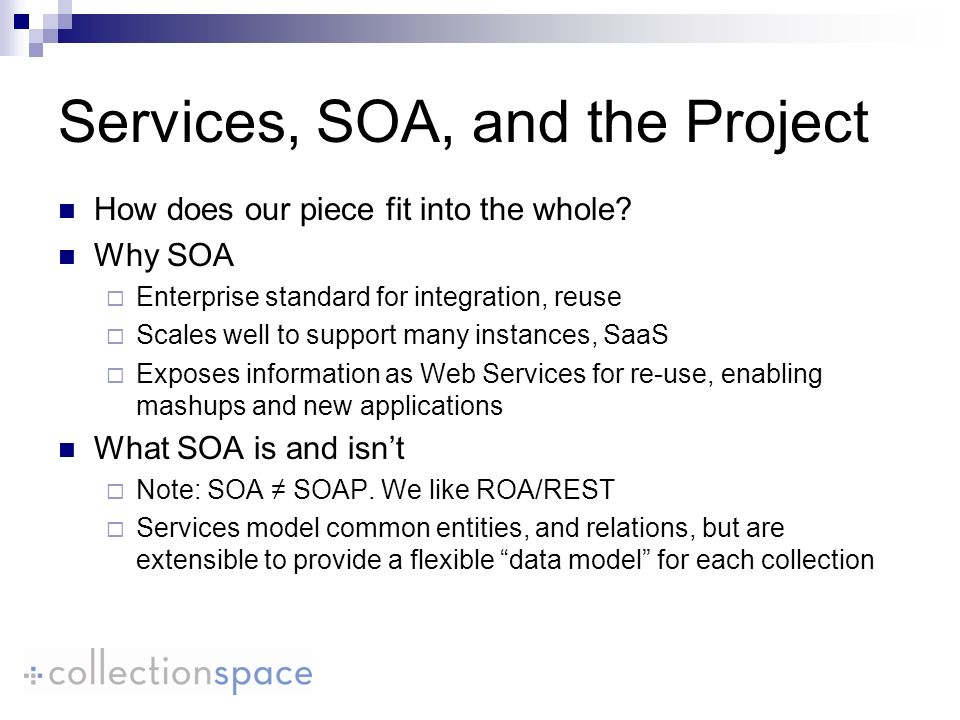 Services, SOA, and the Project How does our piece fit into the whole.