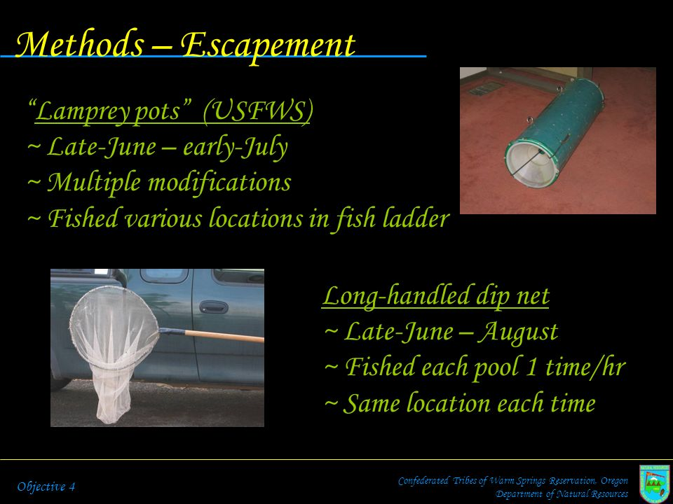 Methods – Escapement Confederated Tribes of Warm Springs Reservation, Oregon Department of Natural Resources Objective 4 Lamprey pots (USFWS) ~ Late-J