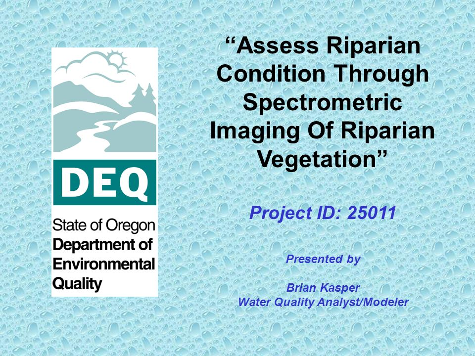 Assess Riparian Condition Through Spectrometric Imaging Of Riparian Vegetation Project ID: 25011 Presented by Brian Kasper Water Quality Analyst/Modeler