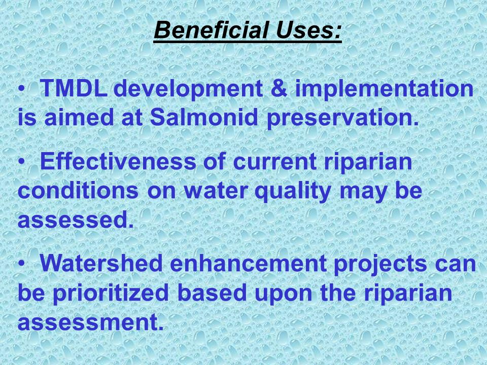 Beneficial Uses: TMDL development & implementation is aimed at Salmonid preservation.