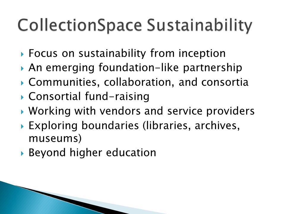 Focus on sustainability from inception An emerging foundation-like partnership Communities, collaboration, and consortia Consortial fund-raising Worki