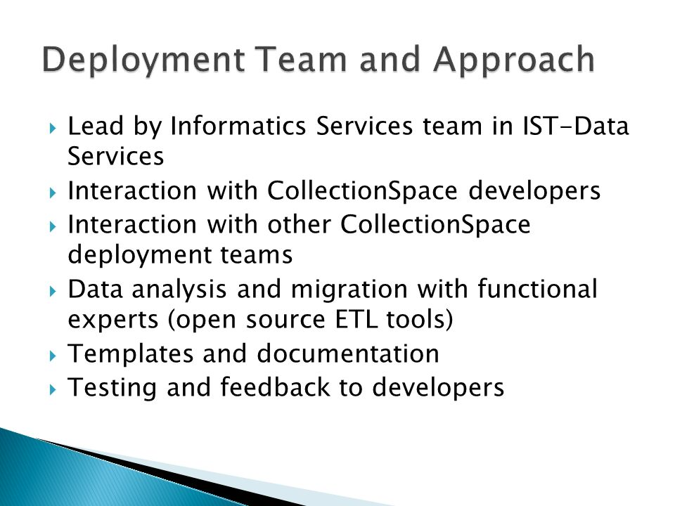 Lead by Informatics Services team in IST-Data Services Interaction with CollectionSpace developers Interaction with other CollectionSpace deployment t