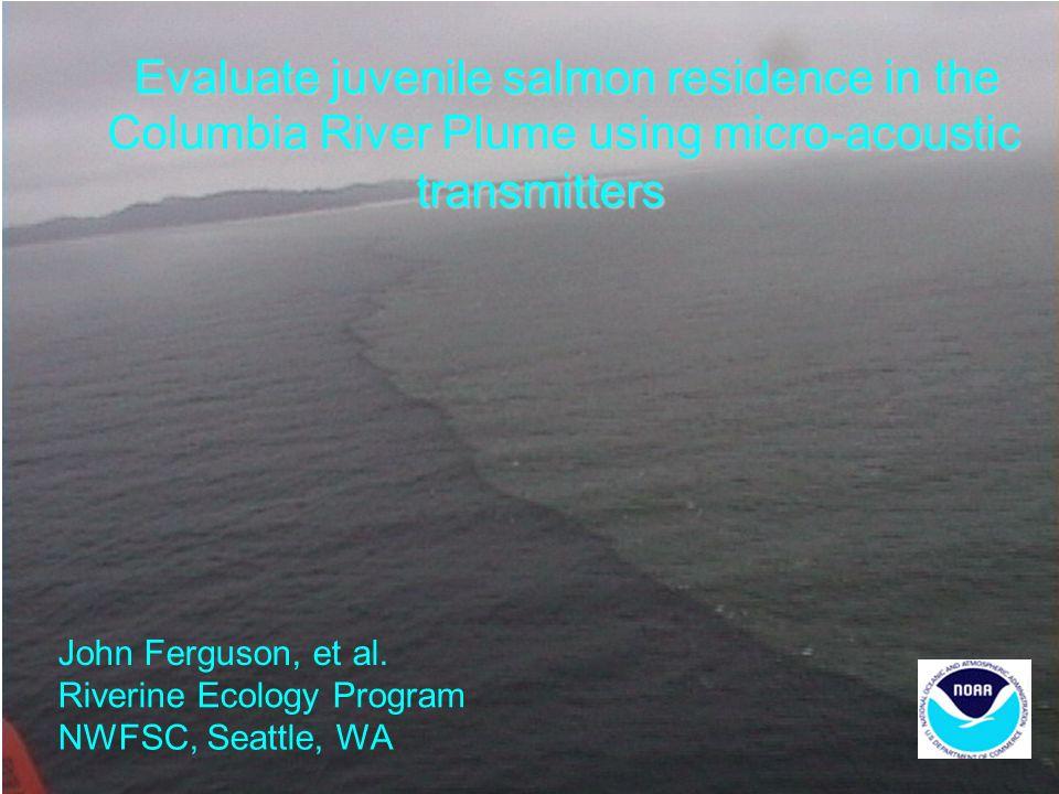 Evaluate juvenile salmon residence in the Columbia River Plume using micro-acoustic transmitters John Ferguson, et al. Riverine Ecology Program NWFSC,