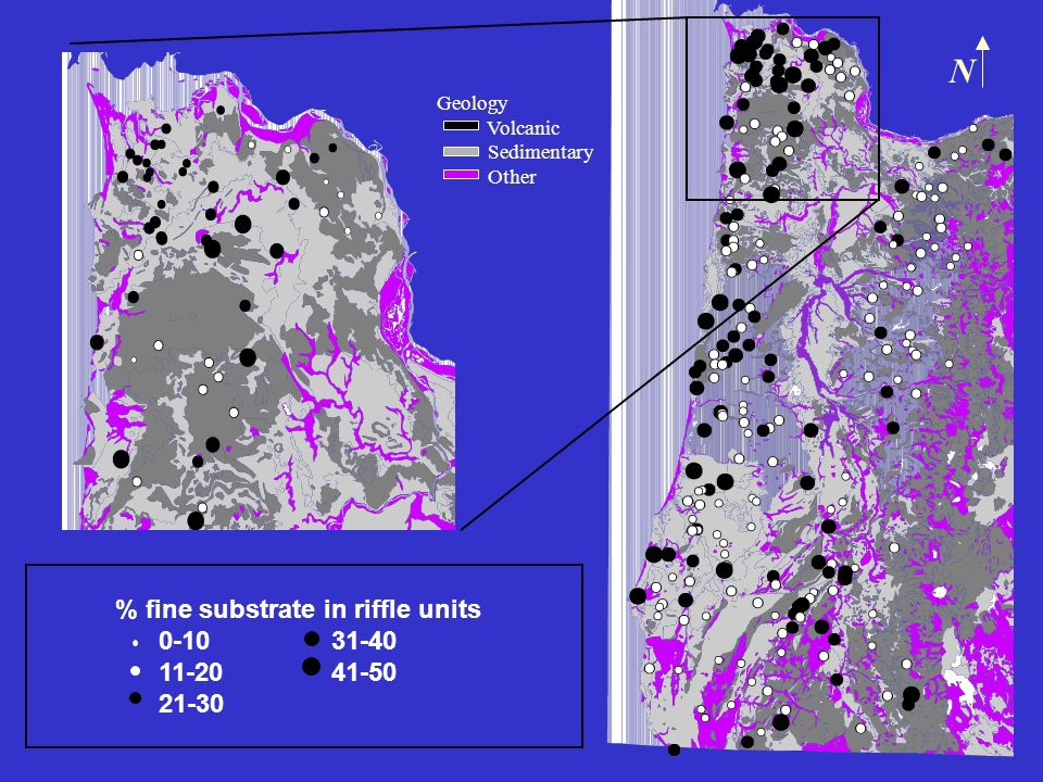 Geology Volcanic Sedimentary Other % fine substrate in riffle units 0-10 31-40 11-20 41-50 21-30 N