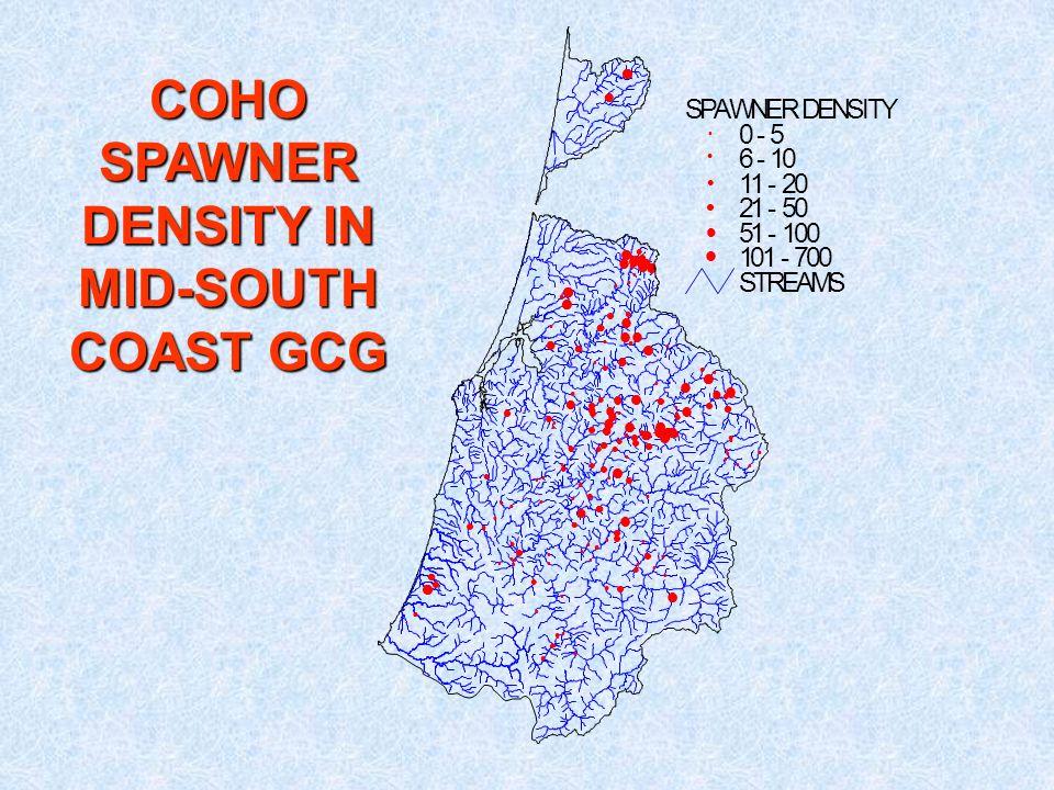 STREAMS SPAWNER DENSITY 0 - 5 6 - 10 11 - 20 21 - 50 51 - 100 101 - 700 COHO SPAWNER DENSITY IN MID-SOUTH COAST GCG