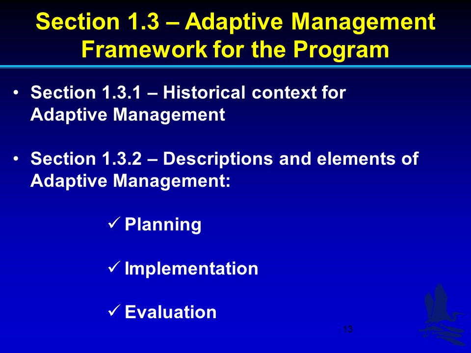 13 Section 1.3 – Adaptive Management Framework for the Program Section 1.3.1 – Historical context for Adaptive Management Section 1.3.2 – Descriptions and elements of Adaptive Management: Planning Implementation Evaluation