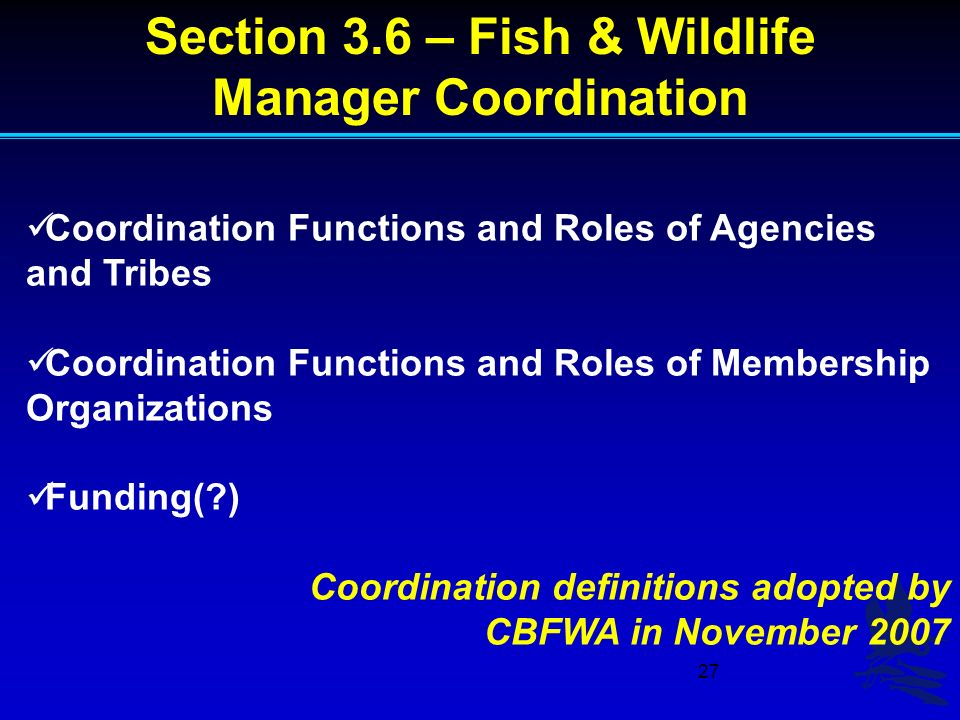 27 Coordination Functions and Roles of Agencies and Tribes Coordination Functions and Roles of Membership Organizations Funding( ) Coordination definitions adopted by CBFWA in November 2007 Section 3.6 – Fish & Wildlife Manager Coordination