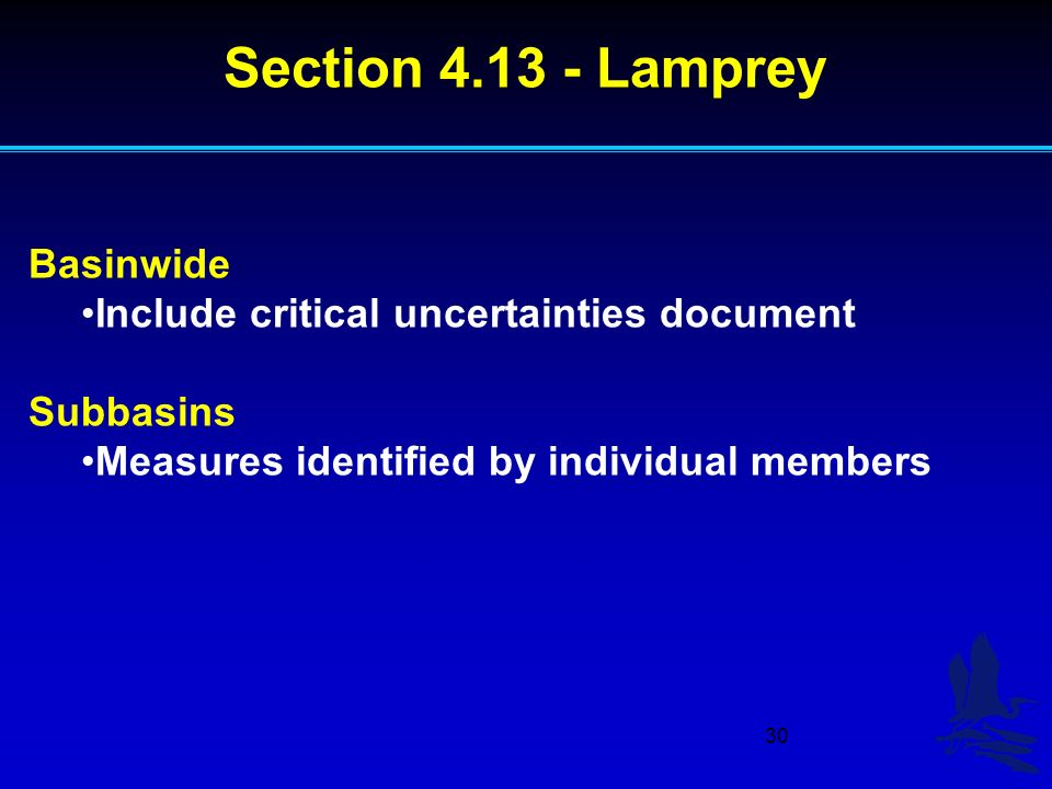 30 Basinwide Include critical uncertainties document Subbasins Measures identified by individual members Section Lamprey