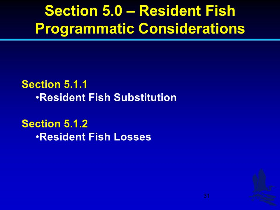 31 Section 5.1.1 Resident Fish Substitution Section 5.1.2 Resident Fish Losses Section 5.0 – Resident Fish Programmatic Considerations