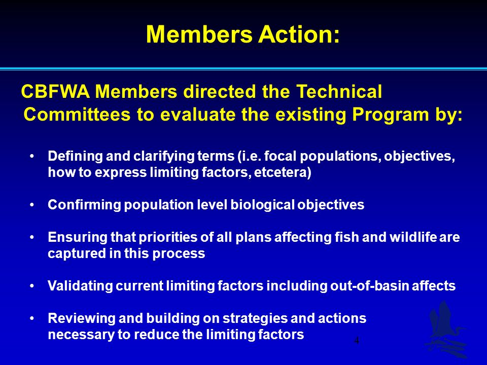 4 Members Action: CBFWA Members directed the Technical Committees to evaluate the existing Program by: Defining and clarifying terms (i.e.