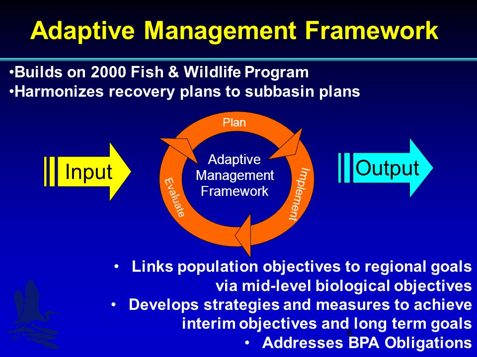 8 Adaptive Management Framework Builds on 2000 Fish & Wildlife Program Harmonizes recovery plans to subbasin plans Links population objectives to regional goals via mid-level biological objectives Develops strategies and measures to achieve interim objectives and long term goals Addresses BPA Obligations Input Output Adaptive Management Framework Plan Implement Eva l uate