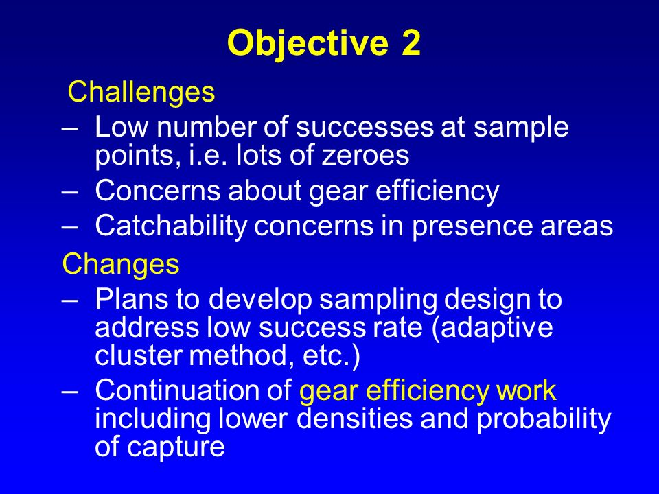 Objective 2 Challenges –Low number of successes at sample points, i.e. lots of zeroes –Concerns about gear efficiency –Catchability concerns in presen