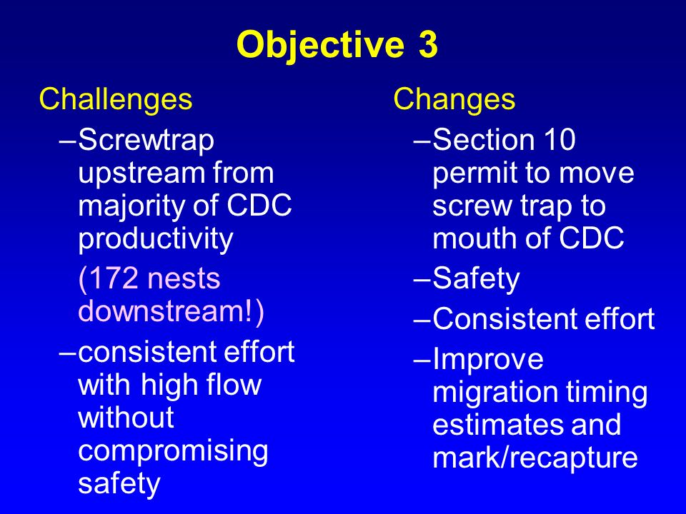 Objective 3 Challenges –Screwtrap upstream from majority of CDC productivity (172 nests downstream!) –consistent effort with high flow without comprom